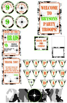Laser Tag Camo birthday party invitation. by LoveAByeBabyDesigns