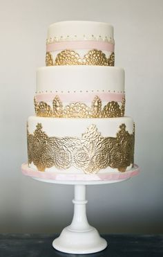 Blush pink and gold three-tier wedding cake with lace detail by My Sweet and Saucy