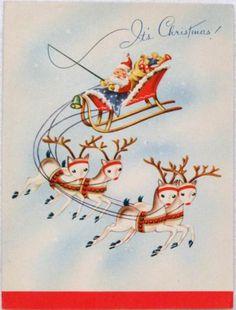 #1585 40s Santa in Sleigh w/ Deer- Vintage Christmas Greeting Card