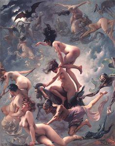 Witches going to their Sabbathby Luis Ricardo Falero (1878) (via)