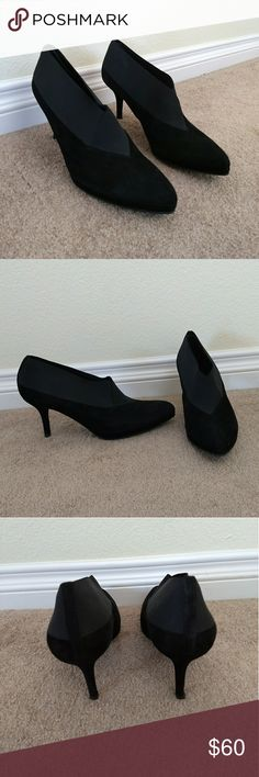 Stuart Weitzman Black Suede Heels Stuart Weitzman black suede ankle booties/ heels. In excellent condition. Price is negotiable. Stuart Weitzman Shoes Heels