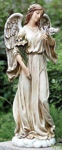 Guardian angel holding dove with flowers Garden Statue. Beautiful and graceful angel for home or garden. This gift is perfect for any angel lovers or as a memorial gift. Made of Resin and stone mix Measures at : * Oversized box Angel Garden Statues, Outdoor Garden Statues, Garden Angels, Statue Ange, Cemetery Angels, Angels In Heaven, Heavenly Angels, Angels Among Us, Cherub