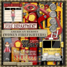 scrapbooking firefighter | American Heroes Firefighter-Women - Digi Scrap / Card Making Kit ...