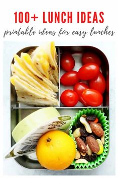 Packing lunches is HEALTHY and EASY with this mega list of school lunch ideas for kids and teens! You'll never be rushing for last minute lunch ideas again with this printable menu list! Print it out today! Healthy School Lunches, Healthy Meals For Kids, Healthy Options, Healthy Food, Lunch Recipes, Healthy Dinner Recipes, Bento Box Lunch, Cold Meals, Quesadilla