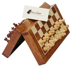 """PREMIUM Folding 12.5x12.5\"""" Chess Set with Bag - SouvNear Magnetic Chess Game - 2 EXTRA QUEENS, Folding Board - BEST Rosewood Staunton Chess Set with Storage - New Year Deals >>> Find out more about the great product at the image link."""