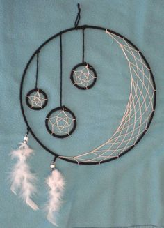 Handmade Stars and Moon Dream Catcher by DreamWeavingWarrior on Etsy! https://www.etsy.com/listing/239853421/crescent-moon-and-hanging-stars-handmade