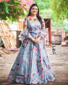 Best 12 Floral long frock from PC Long Gown Dress, Frock Dress, Long Gowns, Formal Dress, Girls Frock Design, Long Dress Design, Party Wear Indian Dresses, Indian Gowns Dresses, Frock Models