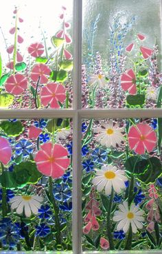 This window is sold, but you can order a custom window: one of a kind fused glass flower garden set in a re-purposed wood sash frame flower garden window repurposed sash window frame fused glass Fused Glass Art, Glass Wall Art, Stained Glass Art, Glass Vase, Mosaic Flowers, Glass Flowers, Mosaic Art, Mosaic Glass, Mosaics