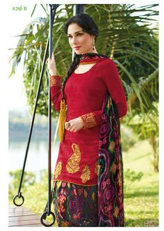 Lush Carmine Cotton Patiala Salwar Suit $79.99 shop at andaazcollectionscanada