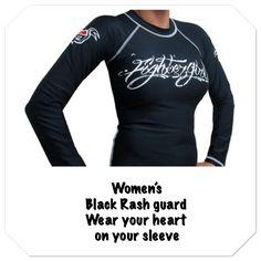 Our product of the week...Women's black rash guard. Wear your heart on your sleeve. Shop fightergirls.com. The 1st & original in women's MMA. Best quality & dedicated to the female warrior. Http://www.fightergirls.com/shop. #fightergirls #wmma #womensmma #rashguard #fightwear #sportswear #training #crosstrain #BodyCombat #grappling #kickboxing #jiujitsu #gym #circuttraining
