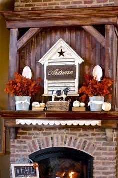 awesome mantel over brick