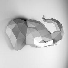 Trophée Mural Origami, Elephant Gris pour la Décoration de Chambre Enfant…