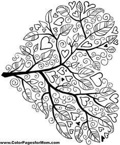 Coloring Page World: Love and Flowers Heart | Free Printable ...