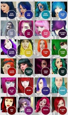 Can't decide on the perfect colour? Check out our Manic Panic colour chart of Classic Dyes to help you out! Manic Panic Color Chart, Manic Panic Colors, Manic Panic Hair Color, Manic Panic Red, Hair Dye Color Chart, Hair Dye Colors, Colour Chart, Cabello Peekaboo, Peekaboo Hair