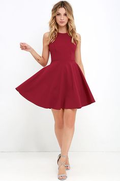 It's no mystery that the Stylish Ways Berry Red Skater Dress always look amazing! Medium-weight knit has the perfect touch of stretch throughout a rounded neckline and sleeveless, princess-seamed bodice with modified racerback. A full skater skirt flares from the fitted waist for a party-ready finish! Hidden back zipper. Grade 8 Grad Dresses, School Dance Dresses, Semi Formal Dresses, Winter Formal Dresses, Skater Skirt Dress, Skater Skirts, Women's Dresses, Dresses Online, Pretty Dresses