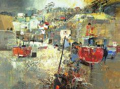 Beer Beach by Mike Bernard  Bernard has a fabulous way of turning abstract collage, seemingly with a few strokes and details, into a scene like this.