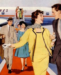 Happy Travelers, detail from 1958 American Airlines ad. When people dressed up to fly and were completely courteous and had manners. Vintage Advertisements, Vintage Ads, Vintage Images, Vintage Airline, Retro Images, Vintage Vibes, Pin Up, Pulp Art, Romance