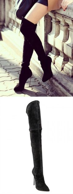 Black Suede Pointed Over The Knee Heeled Boots
