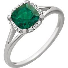 14kt White Gold Cushion Created Emerald & .05 CTW Diamond Halo Ring