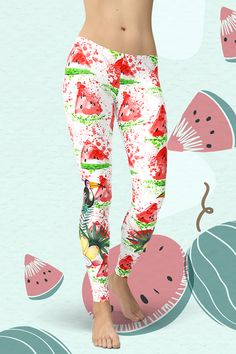 Dare to be you! The new Tropical Watermelon Leggings are squat-proof, non see-through and super comfortable to wear. Handmade quality you can feel! Gym Leggings, Tight Leggings, Yoga Fitness, Activewear, Hug, Looks Great, Tights, Pajama Pants