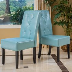 Christopher Knight Home Taylor Blue Bonded Leather Dining Chair (Set of 2) | Overstock.com Shopping - The Best Deals on Dining Chairs