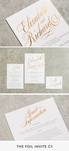 Romantic Wedding Ideas - Personalised Foil Wedding Invitations | Our Script invitations have an elegant design with your names printed in grand foil letters. #WeddingIdeas #RomanticWedding #Foil #WeddingInvitations Foil Wedding Invitations, Wedding Invitation Design, Romantic Weddings, White Weddings, Timeless Wedding, Personalized Wedding, Weddingideas, English Weddings, Script