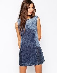 Buy Bellfield Denim Dress at ASOS. Get the latest trends with ASOS now. Refaçonner Jean, Jean Diy, Jeans Refashion, Mode Jeans, Denim Ideas, Recycled Denim, Denim Outfit, Jeans Dress, Denim Fashion