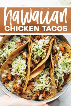 Instant Pot Hawaiian Chicken Tacos with Jalapeño Ranch Slaw Pinch of Yum is part of Instant pot - Instant Pot Hawaiian Chicken Tacos! Juicy pineapple and crispy spiced chicken, tucked into tortillas, and rolled up with creamy jalapeño ranch slaw Chicken Crisps, Chicken Spices, Chicken Pasta, Chicken Ranch Tacos, Chicken For Tacos, Chicken Salad, Healthy Chicken Tacos, Chicken Noodles, Shrimp Pasta