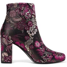 Saint Laurent Babies brocade ankle boots, Women's, Size: 35 (€725) ❤ liked on Polyvore featuring shoes, boots, ankle booties, purple, purple ankle boots, round toe boots, purple boots, purple booties and metallic ankle boots