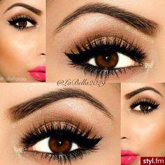 makeup eyes brown pink bronze