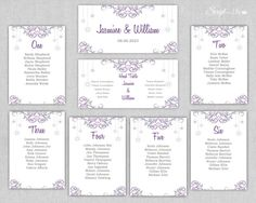 Printable Seating Chart | Snowflake | Silver | Purple | Winter Wonderland | INSTANT DOWNLOAD | Wedding | Edit Text | Word / Pages | Pc & Mac by ScriptAndLily on Etsy