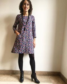 My second #farrowdress  @grainlinestudios I love it!  Beautiful cotton fabric from @lescouponssaintpierre farrowdresszazouzazou_