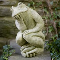 Campania International The Thinking Manâu20ac™s Frog Cast Stone Garden Statue