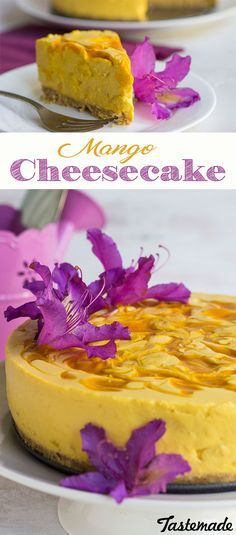 A refreshing summer dessert that does not require any baking! Creamy mango sweetened with white chocolate on top of a delicious cookie crust. And go ahead - add some flowers from the garden, because desserts just taste better when they're oh so pretty!