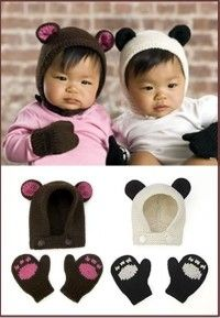 Made one of these Baby Girl Panda hat and mitten set w blanket!      BEAR AND PANDA HAT AND MITTS Free Pattern