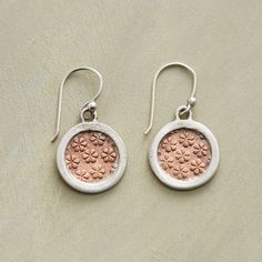 "COPPER GARDEN EARRINGS -- Gardens embossed in copper flourish within sterling silver frames. Handcrafted with French wires. 1-1/8""L."