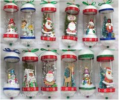 Snow Globes Ornaments-- made from holiday knick knacks (card cut outs, extra glitter or holly branches, etc) and placed inside throw away containers. Cap ends w/ cut styrofoam ball and ribbon. Christmas Globes, Merry Christmas, Christmas Holidays, Christmas Ornaments, Christmas Ideas, Christmas Stuff, Christmas Shirts, White Christmas, Christmas Craft Projects
