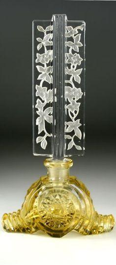 c1930s czech deco citrine clear scent perfume bottle acid etched stopper