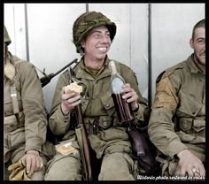 3 G's of the 101st Airborne rests taking a break in Carentan. According to research the GI in the middle could be  Pfc Kenneth Jobes. A Company, 506th PIR, 2nd Squad - 3rd Platoon - 20360021