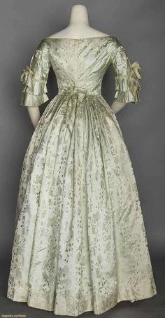 SILK BROCADE BALLGOWN 1840's | Augusta Auctions (back view)