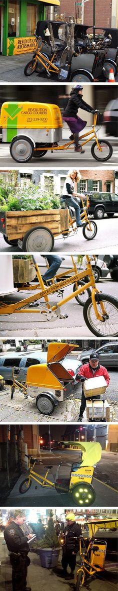 Revolution Rickshaws, NYC. Click image for link to their web site via Twitter, and visit the slowottawa.ca boards >> https://www.pinterest.com/slowottawa/