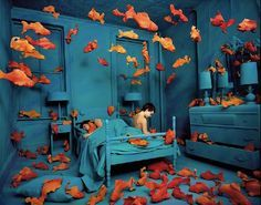 """Incredible Elaborate Non-Photoshopped Scenes """"Decades before Photoshop was available, American artist Sandy Skoglund started creating surrealist images by building incredibly elaborate sets, a process which took months to complete. Her works are characterized by an overwhelming amount of one object and either bright, contrasting colors or a monochromatic color scheme."""""""