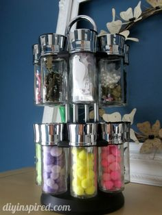 Recycled spice jar turn craft storage.