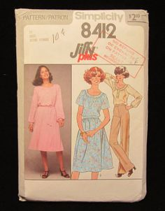Items similar to 1978 -Vintage Simplicity Jiffy Plus Pattern Misses Dress-Size 12 on Etsy Patron Simplicity, Vintage Sewing Patterns, New Look, Vogue, Trending Outfits, Shirts, Etsy, Dress Shirts, Shirt