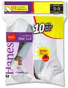 Hanes Cushioned Women`s Athletic Socks - Low-Cut White 5-9 $8.23