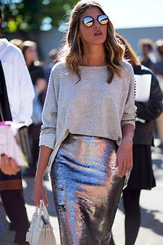 Le Fashion Blog Fall Style Blonde Wavy Hair Round Sunglasses Grey Embellished Sweater Metallic Sequined Skirt White Mini Bag Via Glamour Spain