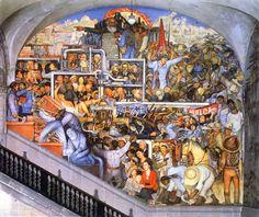 Historia de México de Diego Rivera en Palacio Nacional, Ciudad de México, México.