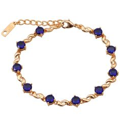 Find More Charm Bracelets Information about  New 2016 Delicate 18K Yellow Gold Plated, Deep blue zircon round stone Bracelet Adjustable length , Fashion Jewelry B122,High Quality jewelry 18k,China jewelry camp Suppliers, Cheap jewelry day from Dana Jewelry Co., Ltd. on Aliexpress.com