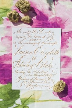 calligraphy on fabric: love the colors and tones of the fabric behind the card