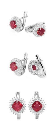 Red jewelry mom, ruby gift girlfriend earrings, jewelry gift coworker, pink gift wife, ruby gift for women, red earrings July Birthstone  These Stunning Stud Earrings are made from 925 Sterling Silver and white Gold Plated with Genuine blood red Ruby Gemstones. The white cz halo setting is so bright and sparkly! It will look amazing if you would like to wear it everyday or for a very special occasion. The sparkle and charm is unbeatable in any case!